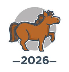 horse zodiac sign chinese horoscope 2026 new vector image