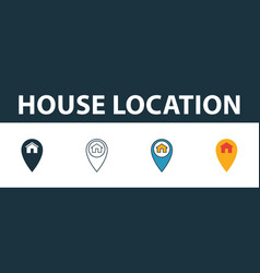 house location icon set four elements in diferent vector image