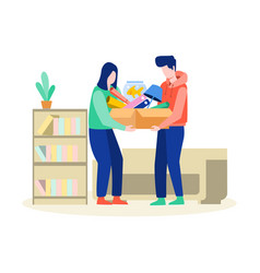 house moving helping each other vector image