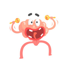 Humanized cartoon brain character playing on vector
