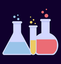 laboratory glass flasks vector image