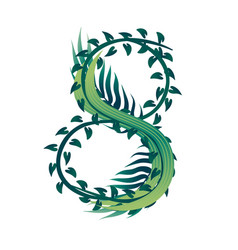 leaf number 8 with different types green vector image