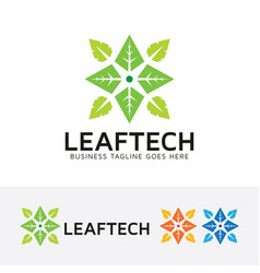 Leaf technology logo design vector