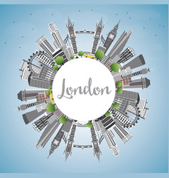 london england skyline with gray buildings blue vector image