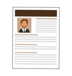 Man brown curriculum vitae icon vector