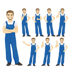 man in overalls vector image