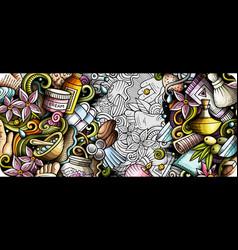 massage hand drawn doodle banner cartoon detailed vector image