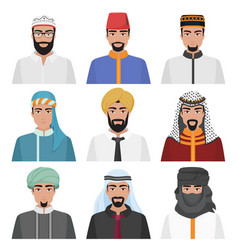 Middle eastern men avatar set arabian muslim male vector