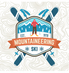 mountaineering ski patch ski club retro vector image
