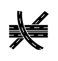 Multi level junction black glyph icon vector