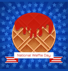 National waffle day 24 august waffles in in the vector