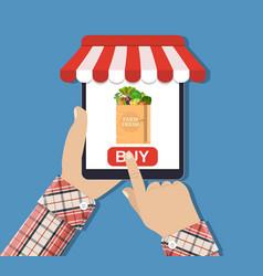 Online food shopping smartphone vector
