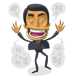 overjoyed with success businessman vector image