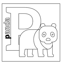 Panda letter P coloring page vector image