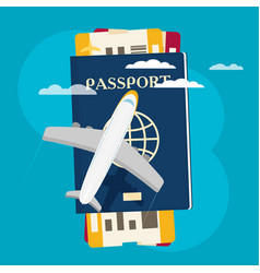 Passport with tickets icon isolated on background vector