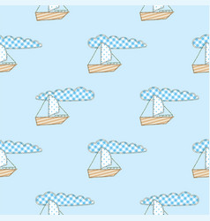 Patchwork boat seamless pattern vector