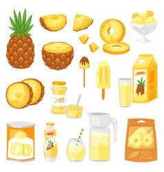 pineapple fresh healthy pine-apple yellow vector image
