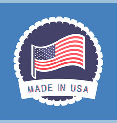 produced in america circle shape label icon vector image