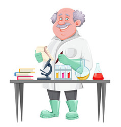 Professor standing near laboratory table vector