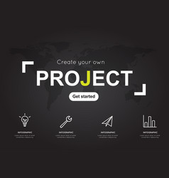 Project icons with world black map for business vector
