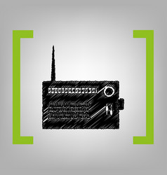 radio sign black scribble vector image