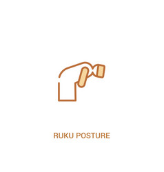 Ruku posture concept 2 colored icon simple line vector