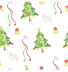 seamless pattern with christmas trees and bells vector image