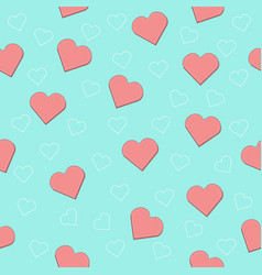 seamless pattern with hearts pink vector image