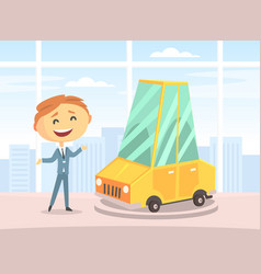 seller presenting and selling new car vector image