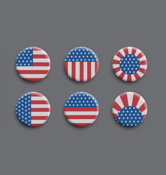 set 3d badges with american flag vector image