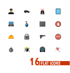 Set of 16 editable safety icons includes symbols vector