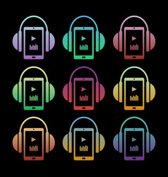 set of concept music icons - headphones with vector image