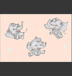 Set of cute childish cartoon baby elephants and vector