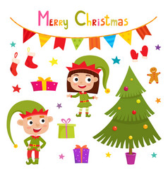set of cute little christmas elf vector image