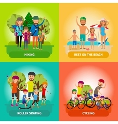 Set of family or healthy lifestyle concepts vector