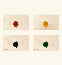 Set of wax sealed envelopes vector