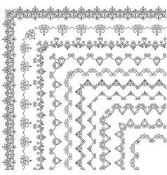 set vintage floral geometric corner brushes vector image