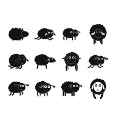 Sheep cute lamb farm iicons set simple style vector