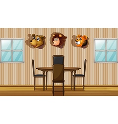 Stuffed animal decors inside the house vector