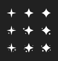 super set stars sparkle icon bright firework vector image