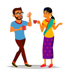 Talking indian man and woman laughing vector