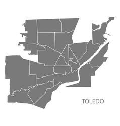 toledo ohio city map with neighborhoods grey vector image