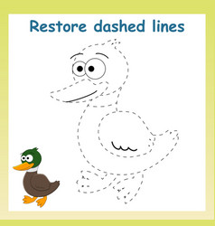 Trace game for childrencartoon duck vector