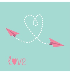 Two flying paper planes Heart in the sky Love card vector