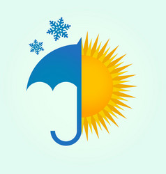 umbrella snow and sun vector image