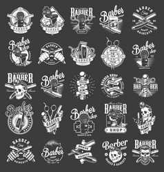 Vintage monochrome barbershop emblems vector