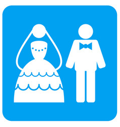 Wedding couple rounded square icon vector