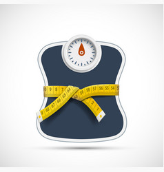 Weighing scales with measuring tape weight loss vector