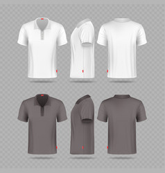 White black mens polo t-shirt set isolated vector