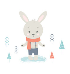 winter card with rabbit vector image